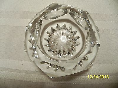 Antique Crystal Cut Glass Very Heavy Hexagon Shape Salt Celler From Mississippi