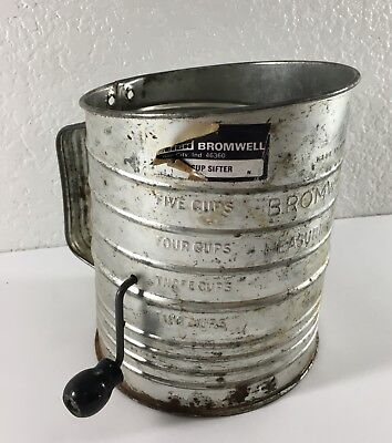 Vtg Bromwell 5 Cup Flour Measuring Sifter Metal Farmhouse Kitchen Decor Rustic