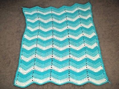 "Vintage Hand Made Crocheted Rippled Afghan Two tones of Aqua and White 54"" X 44"""