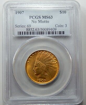 1907 No Motto $10 Indian Head Gold Piece - PCGS Certified MS 63 !!