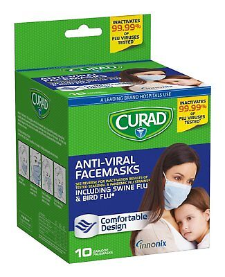 Curad Antiviral Medical Face Mask Pleated, 10 Count