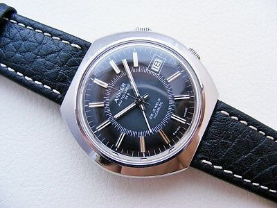 Beautiful Rare Black Steel Anker Alarm Automatic Cal.: As 5008 Vintage 1970's!