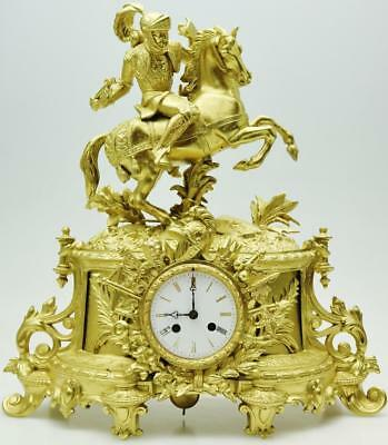 Spectacular Antique French 8 Day Gilt Figural Mantel Clock Great Subject Theme
