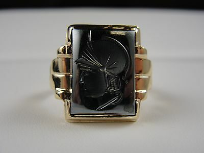 10K Yellow Gold Mens Ring With Greek Face Weight 8.1G Size 10