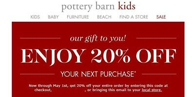 Pottery Barn Kids 20% Off Coupon PB FAST DELIVERY Not 10 15 25