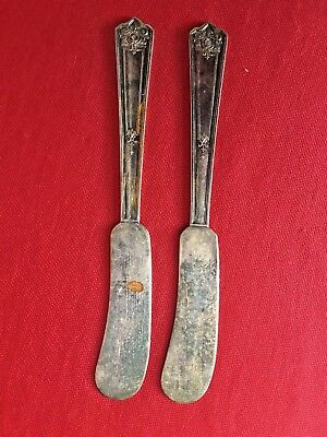 """Set of 2 - Rogers & Bro """"Majestic"""" Pattern Individual Butter Knives"""