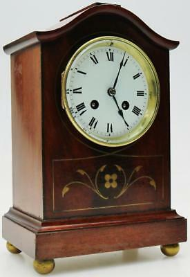 Beautiful Antique 8 Day French Inlaid Mahogany Gong Striking Mantel Desk Clock