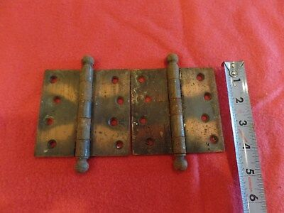 "2 Vintage 4"" Japaned/Copper Flash Hinges  Cannon Ball Top Door Hardware"