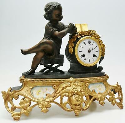 Rare Antique French 8 Day Bell Striking Figural Sevres Porcelain Mantel Clock