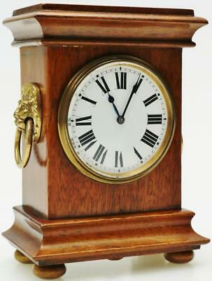Superb 8 Day Antique French Oak Mantel Desk Clock Lion Head Bronze Mounts