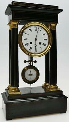 Rare Antique French 8 Day Ebonised Bell Striking Empire Portico Mantel Clock