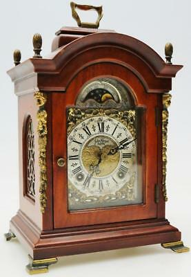 A Fine Vintage 8 Day Striking Mahogany Dutch Moon Dial Rolller Mantel Desk Clock