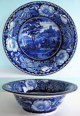 Staffordshire Pearlware CLEWS SELECT SCENERY Wash Basin  Blue Transferware c1820