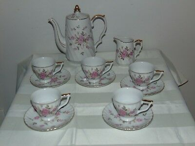 12 Pieces Hand Painted Lefton China Moss Rose Demitasse Tea Set Service For 5