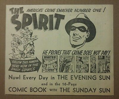 1941 The Spirit Americas Crime Smasher Comic Book Promo Ad