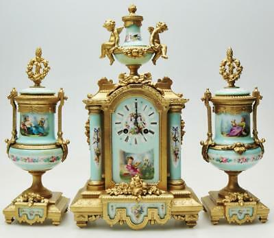 Stunning Antique French Gilt Metal & Sevres 3 Piece Mantle Clock Garniture Set