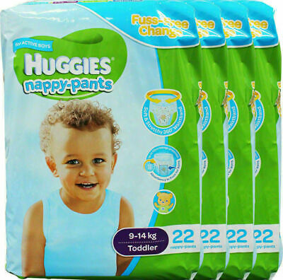88 x HUGGIES BOYS NAPPY-PANTS VALUE PACK TODDLER 9-14kg (4x22PK)