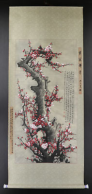 """CHINESE HANGING SCROLL ART Painting """"Plum Blossoms""""  #E9321"""