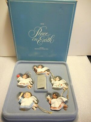 Vintage Avon 1983 Bisque Peace on Earth Angel Ornaments in box