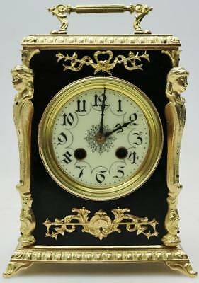 Antique French Ebonised Wood & Gilt Bronze Officer Mantle Clock by Japy Freres