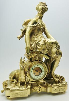 Spectacular Huge Antique XXL Ormolu Bronze Diana Huntress Figural Mantel Clock