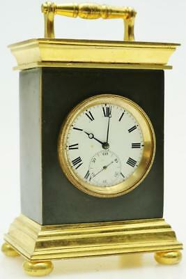 Superb Antique English Dubois & Wheeler Fusee Ebonised & Bronze Carriage Clock