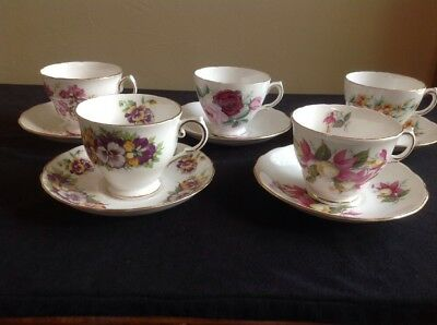 Vintage Fine Bone China Royal Vale & Tuscan Cups & Saucers (Set of 5)