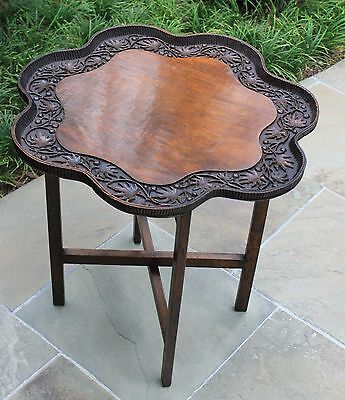 Antique English Carved Mahogany Table Coffee Tea Serving Tray Butler's Stand