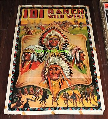 101 Ranch Wild West Old Poster Native American Tonkawa Ponca Otoe Osage Indians