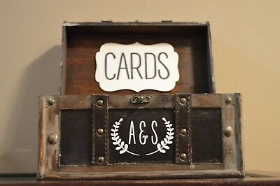 Rustic Style Wedding Card Box Holder With Initials On The Front Of Trunk
