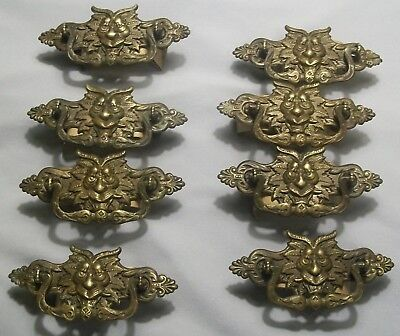 Vintage 8# Victorian East Lake Dresser Brass Handle Pulls With Mystical Heads
