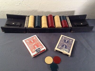 Antique Clay Poker Chip Set In Original Swing Clasp Case & 2 Packs Vintage Cards