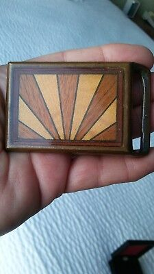 RARE Vintage Tech Ether Guild Sunrays SOLID BRASS Belt Buckle Wood Inlaid