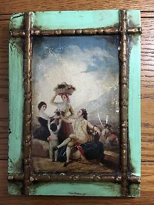 A Mounted Antique Style Print On Board of An Early 18th Century Country Scene.