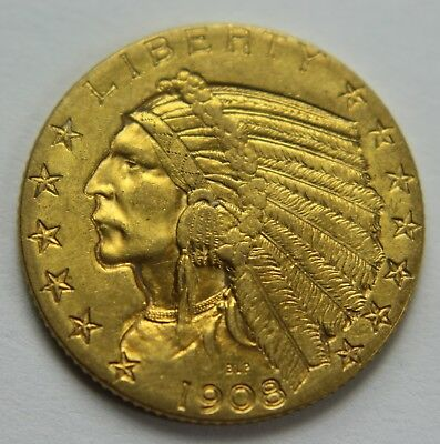 1908-D BU Gold Indian Head Five Dollar $5 Gold Half Eagle Old US Coin NR W030