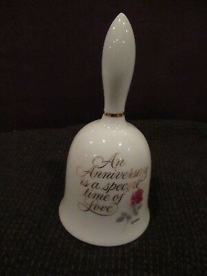 "Vintage Designers Collection Anniversary Porcelain Bell 5"" Tall"