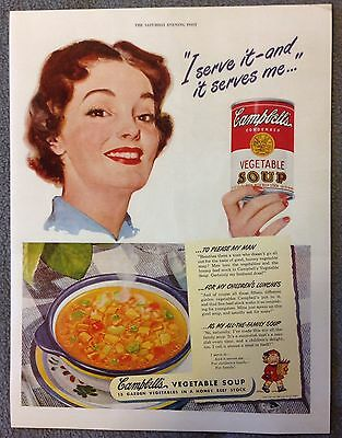 CAMPBELLS VEGETABLE SOUP Ad From 1949 Saturday Evening Post -Reproduction