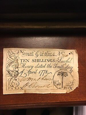 APRIL10th 1778 - 10 SHILLINGS COLONIAL SOUTH CAROLINA