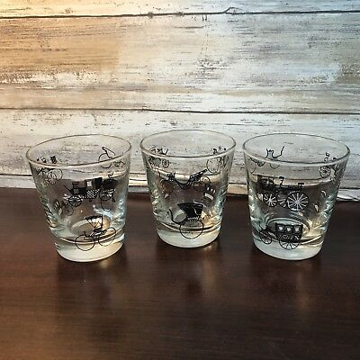 Set of 3 Vintage Libbey Drinking Bar Glasses Tumblers Horse Carriage Design MCM