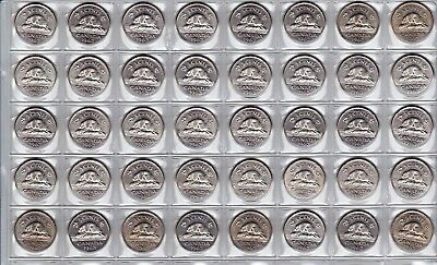 Canada 1963 Five Cent UNC CHOICE BU MS Nickel Roll of 40 Coins!!