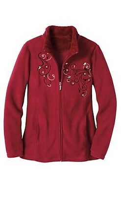 NEW Tudor Court Sherpa Trim Embroidered Chickadees Red Fleece Jacket Size XL