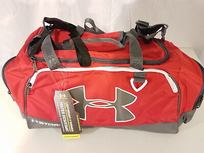 bb86c6494397 Under Armour Storm Undeniable II SM Duffle Bag gym Red gray NWT Water  Resistant