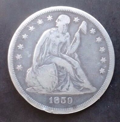 1859-O Seated Liberty Silver Dollar $1 - F+ Details - Rare Early Type Coin!