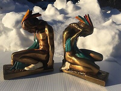 Vtg. Art Deco Ronson Indian Warrior Chief Polychrome Bookends NoRsv!