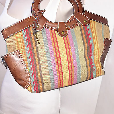 FOSSIL Large lightweight Multi-Color Striped Fabric / Brown Trim Tote