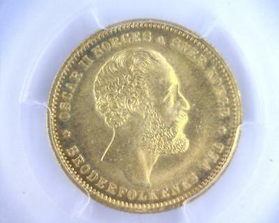 1875 Norway Gold 20 Kroner | MS65 | PCGS Gold Shield Secure (RC4839)