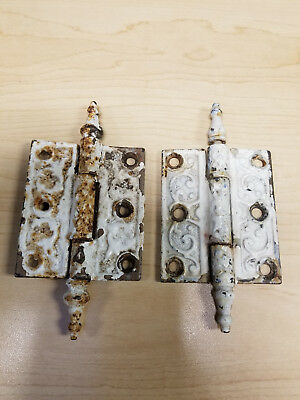 Pair Vintage Iron Matching Door Hinges, Scrolled, Steeple Point Tips, 2.5 x 3