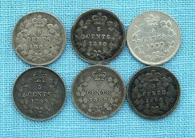 Lot of 6 Victorian Silver Canadian  10 cent Dime