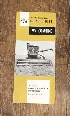 Vintage 1957 John Deere 4 page fold-out Brochure 95 Combine Self Propelled Old