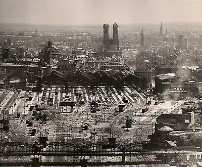 OLD 1945 WWII USAAF RECON PHOTO of GERMAN CITY TRAIN STATION MUNICH GERMANY